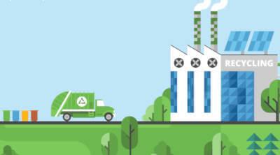 Fonduri Europene nerambursabile pentru gestionare de deseuri - o masina de gunoi cu semnul reciclare pe ea.