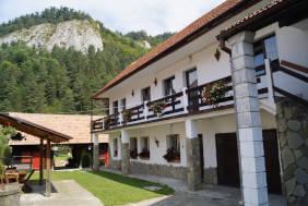 Consultanta Fonduri europene pentru sectorul turistic: o pensiune cu flori la balcon, asezata la poalele unui munte impadurit.