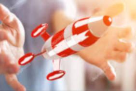 Consultanta fonduri europene start-up. Racheta lansata simbol pentru start up care se poate demara cu fonduri europene nerambursabile.
