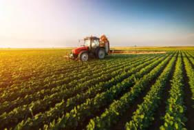 Neotrust ofera consultanta pentru accesare de fonduri UE pentru agricultura. In imagine se vede un tractor pe un camp verde.