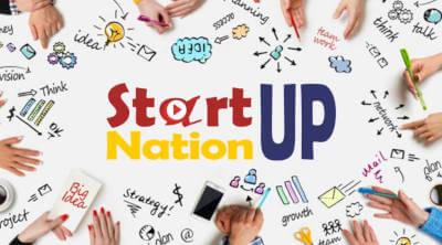 O masa pe care se vad mani si tot felul de mesaje: in centru StartUp Nation iar pe margini alte mesaje strategie, idei, crestere, comunicare.
