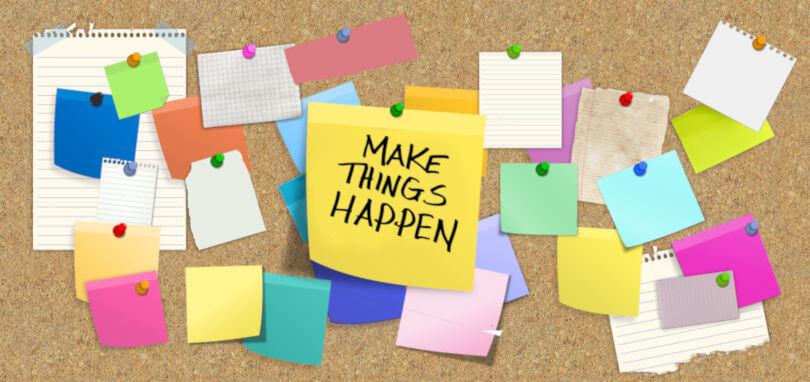 Cum sa castigi Start-Up Nation, un board cu multe post-ituri dintre care pe unul scrie Make It Happen.