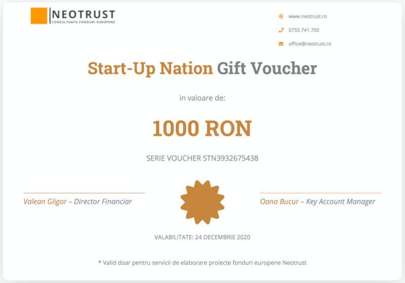 Consultanta Start-Up Nation ofera un voucher cadou in valoare de 1000 de lei pe care clientii il pot folosi pentru serviciile de elaborare proiecte europene.
